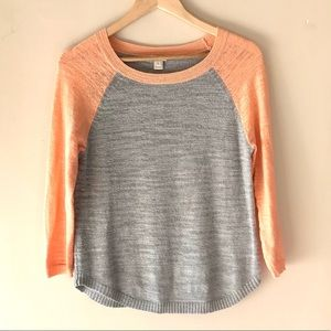 J. Crew peach and grey sweater - Size Small